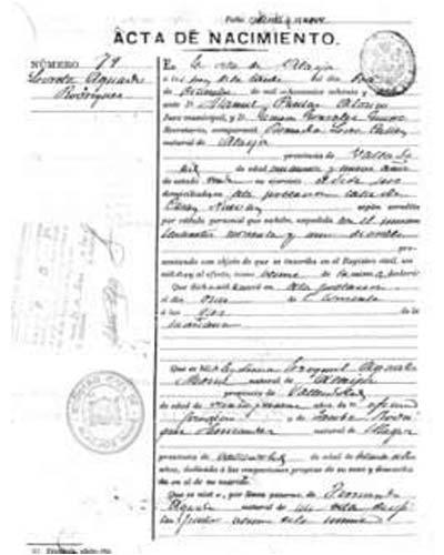 certificado de nacimiento badajoz